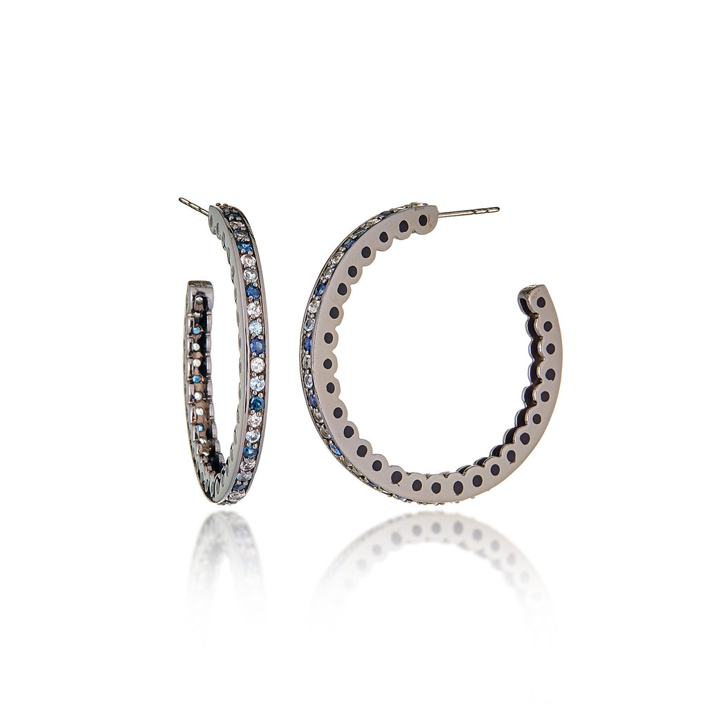 Sterling Silver Hoop Earrings With Black Enamel & Mixed Ice Sapphires