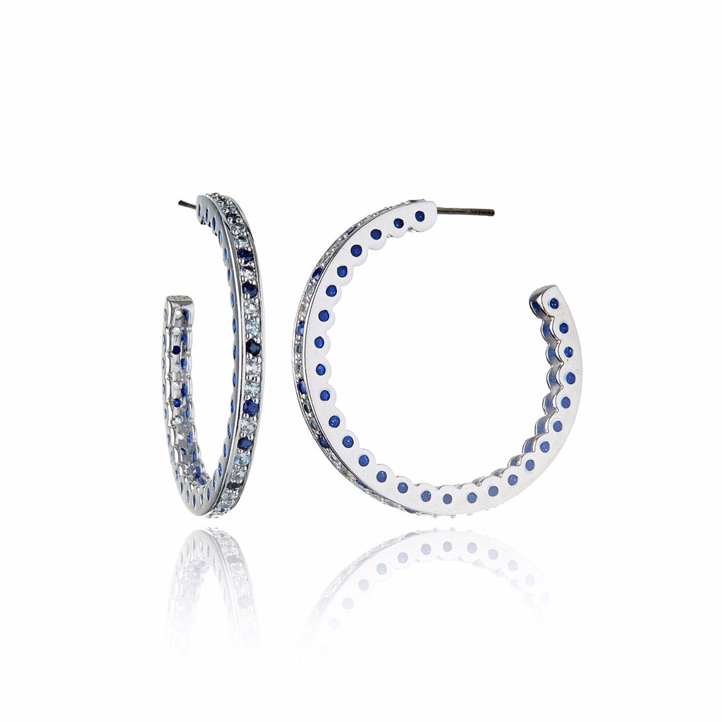 Sterling Silver Hoop Earrings With Royal Blue Gum Glitter Enamel & Mixed Ice Sapphires