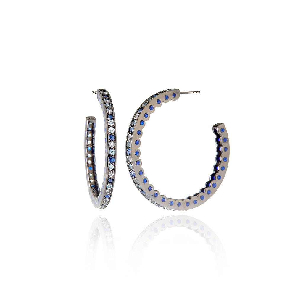 Sterling Silver Hoop Earrings With Dark Purple Oil Enamel & Mixed Ice Sapphires