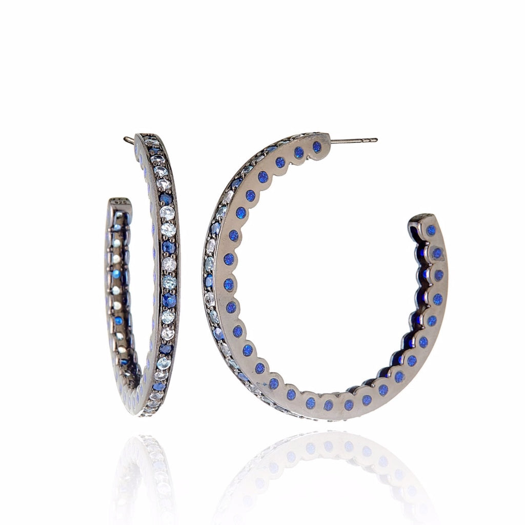 Black Rhodium Plated Sterling Hoop Earring With Oil Dark Purple Enamel Ice Mix Sapphire