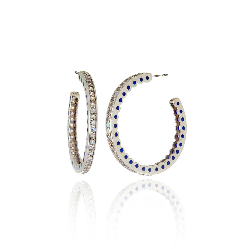 Sterling Silver Hoop Earrings With Dark Purple Oil Enamel & Moonstone