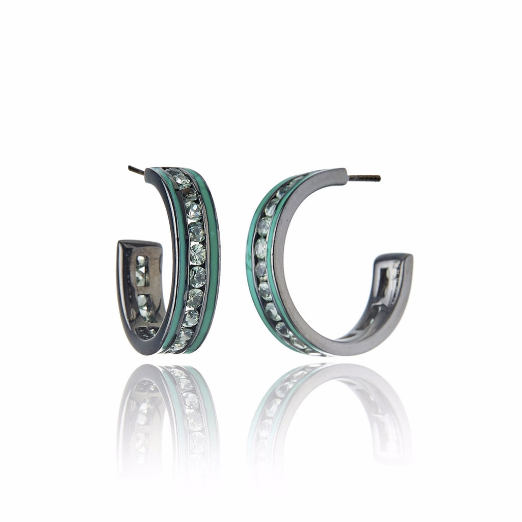 Sterling Silver Hoop Earrings With Kelly Green Enamel & Green Sapphire
