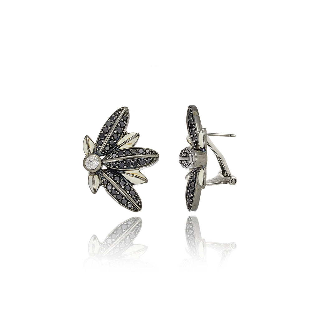Sterling Silver Button Earring With White Enamel, Black Spinel & White Topaz