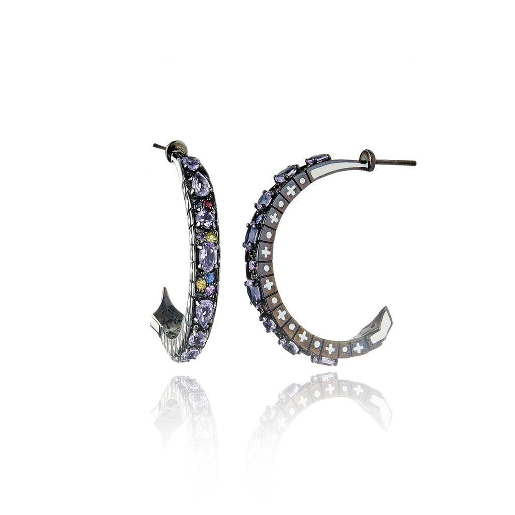 Sterling Silver Hoop Earrings With White Enamel, Mixed Sapphires & Amethyst