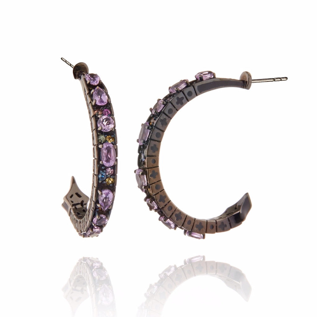 Sterling Silver Hoop Earrings With Black Enamel, Mixed Sapphires & Amethyst
