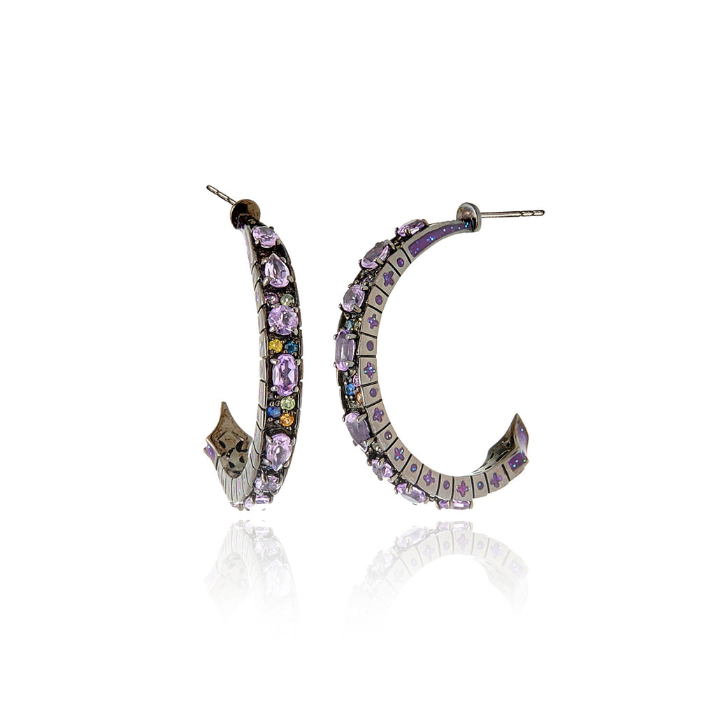 Sterling Silver Hoop Earrings With Light Purple Glitter Enamel, Mixed Sapphires & Amethyst