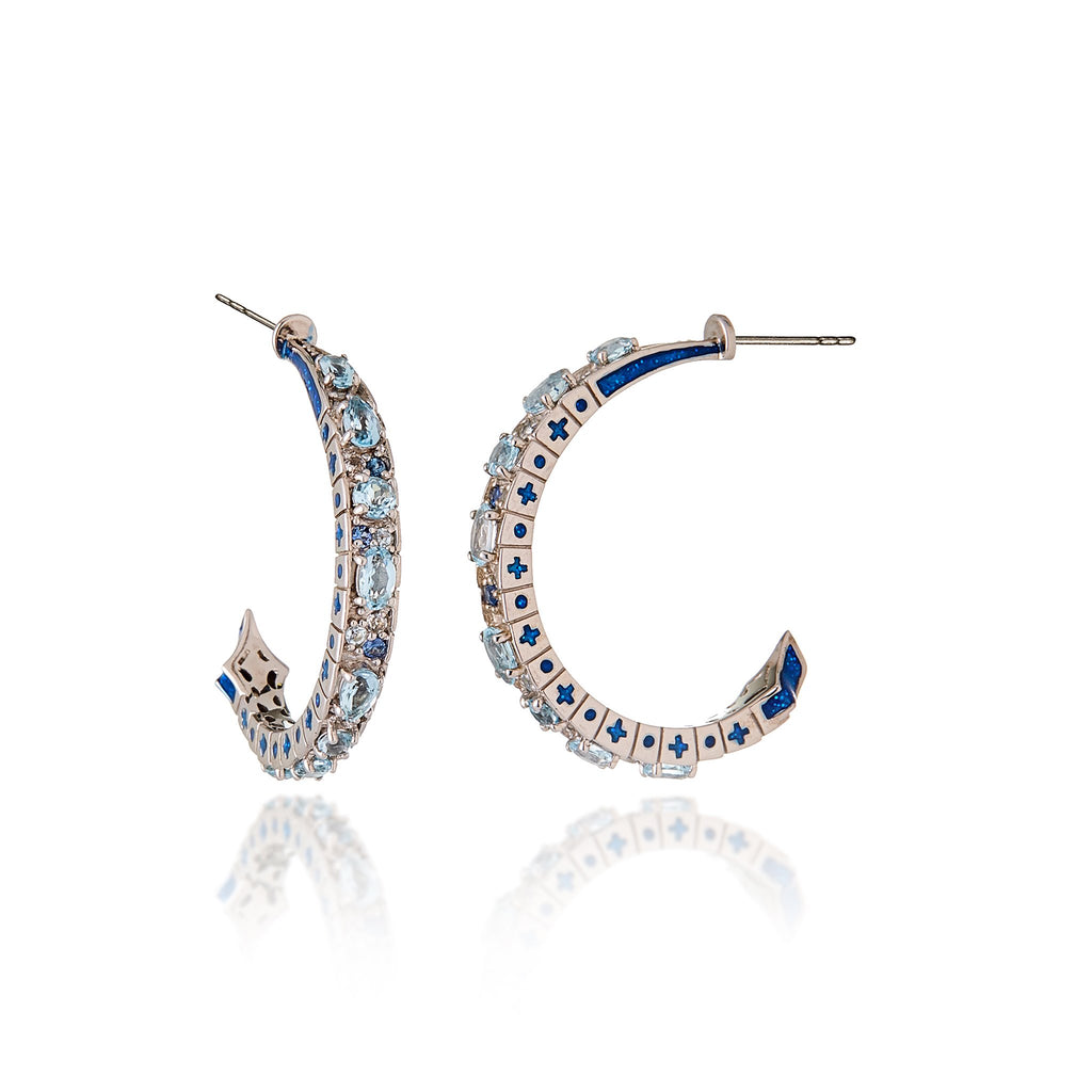 White Rhodium Plated Sterling Hoop Earring With Glitter Gum Royal Blue Enamel Ice Mix Sapphire and Blue Topaz