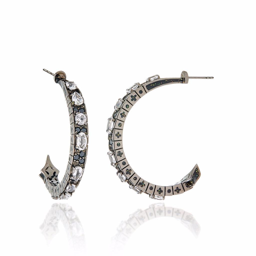 Sterling Silver Hoop Earrings With Dark Black/Gold Enamel, Black Spinel & White Topaz