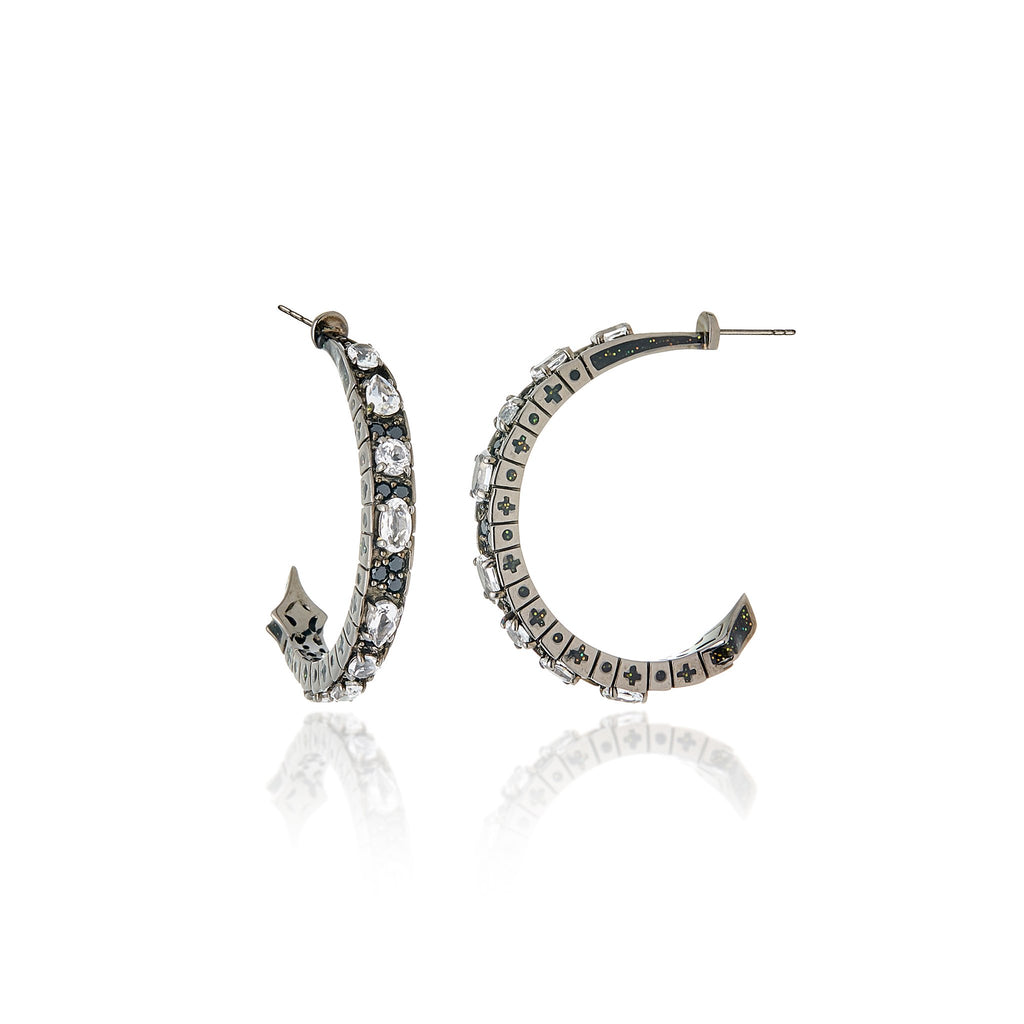 Black Rhodium Plated Sterling Hoop Earring With Glitter Dark Black & Gold Enamel Balck Spinel and White Topaz