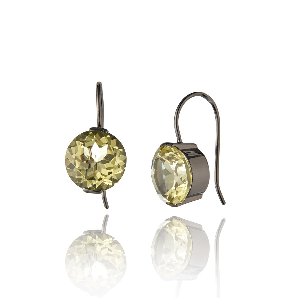 Sterling Silver Statement Earrings with Lemon Quartz