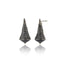 Sterling Silver Statement Earrings With Black Enamel & Black Spinel