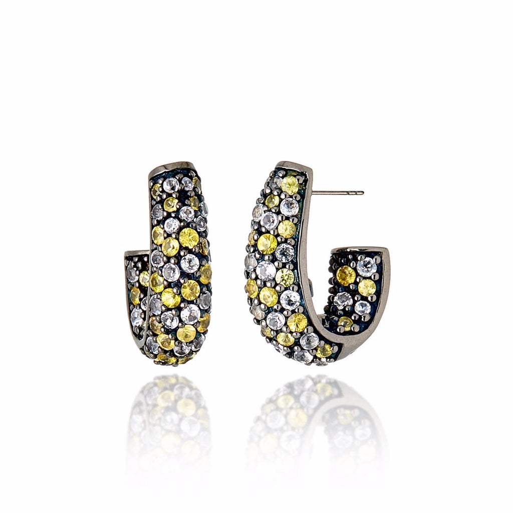 Sterling Silver Hoop Earrings With Mixed Yellow Sapphires
