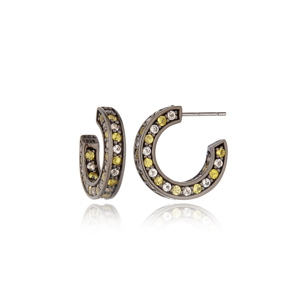 Black Rhodium Plated Sterling Hoop Earring Set With Yellow Mix Sapphire
