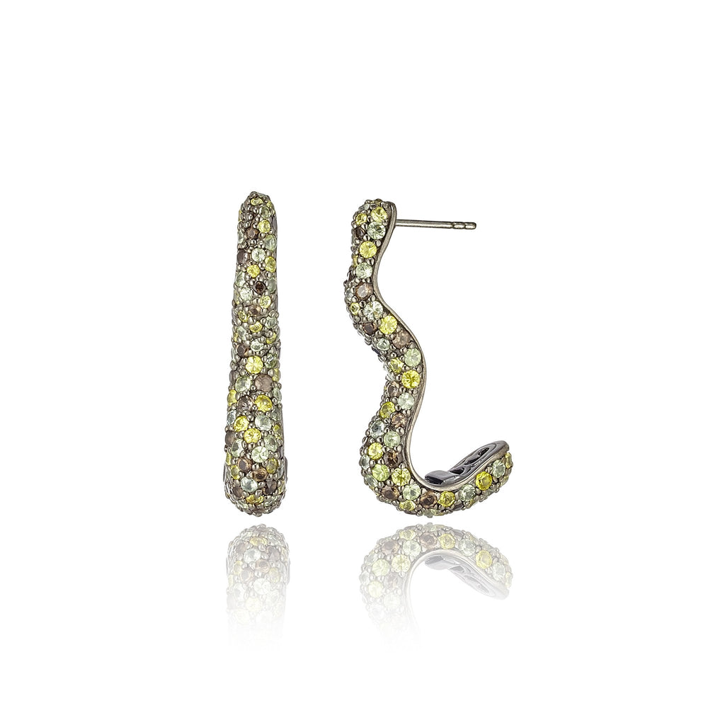 Sterling Silver Statement Earrings With Mixed Army Sapphires