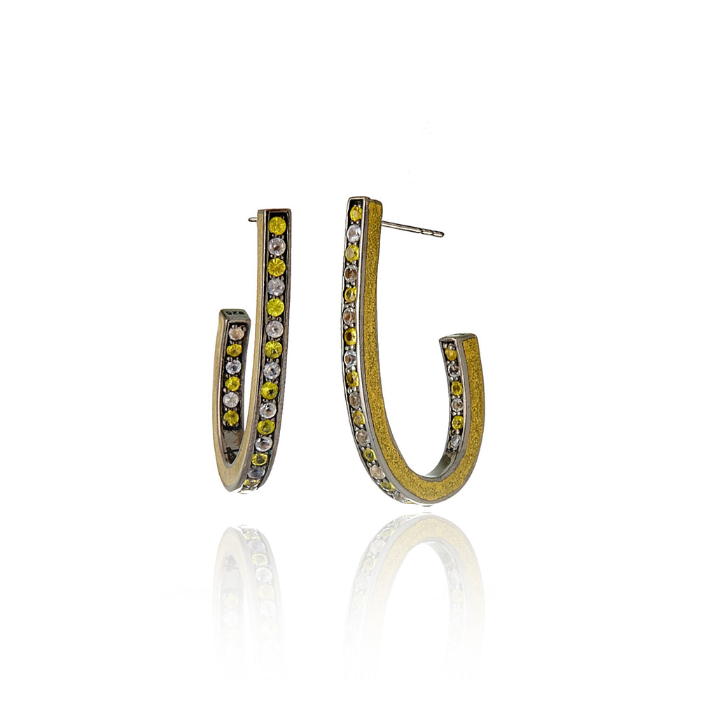 Sterling Silver Hoop Earrings With Metallic Olive Enamel & Mixed Yellow Sapphires