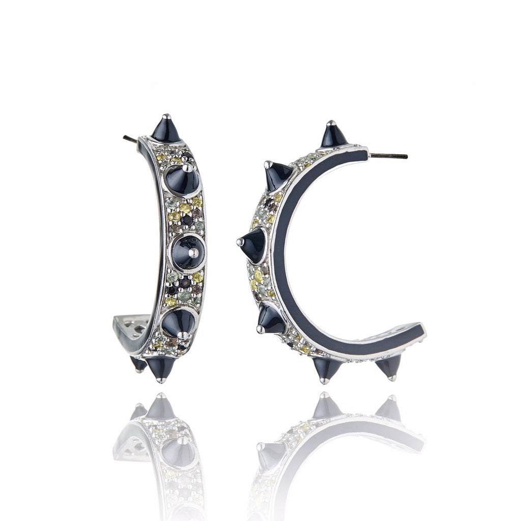 Sterling Silver Hoop Earrings With Black Enamel & Mixed Army Sapphires