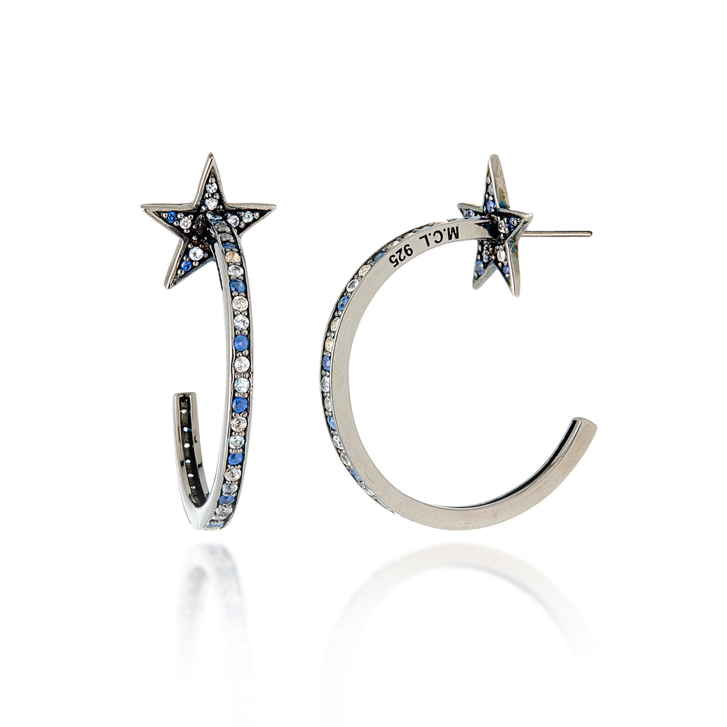 Sterling Silver Hoop Earrings With Mixed Ice Sapphires