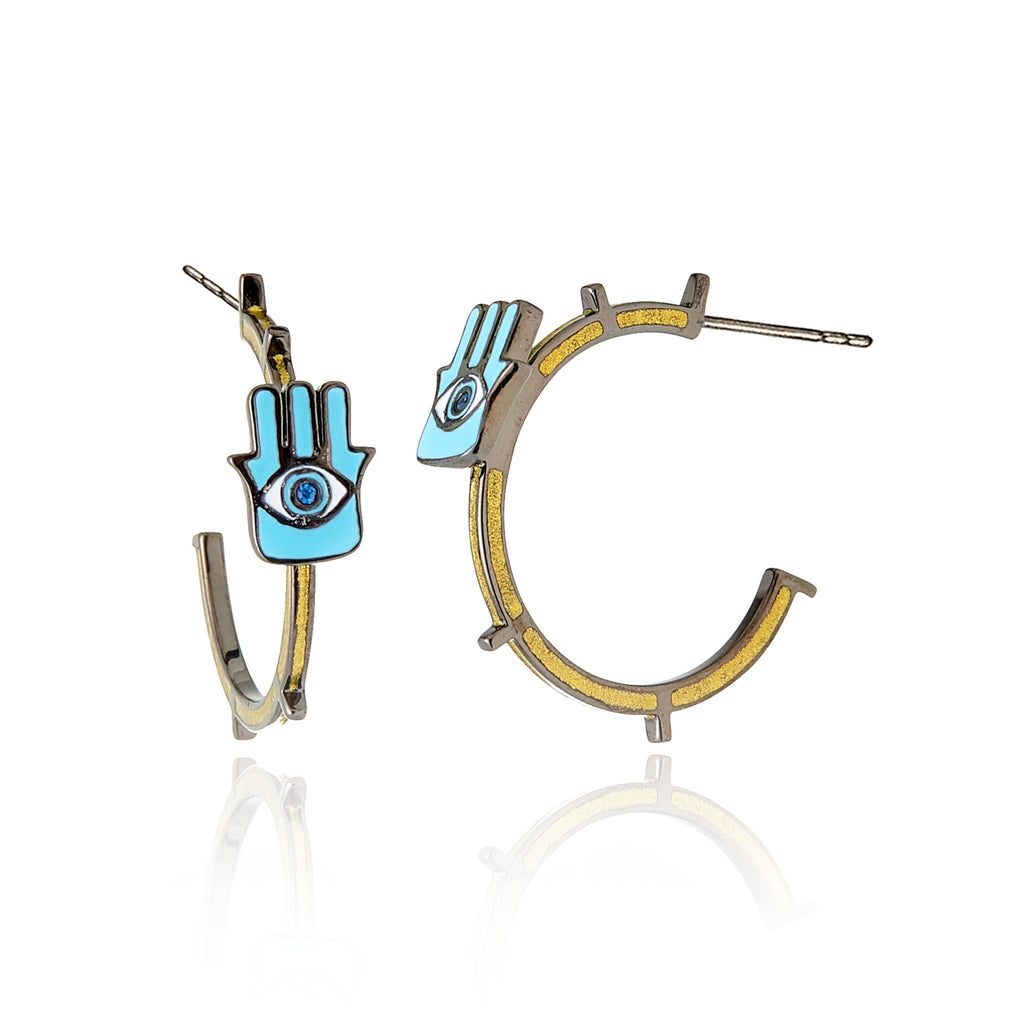 Sterling Silver Hoop Earrings With Various Enamel Colors & Blue Sapphire