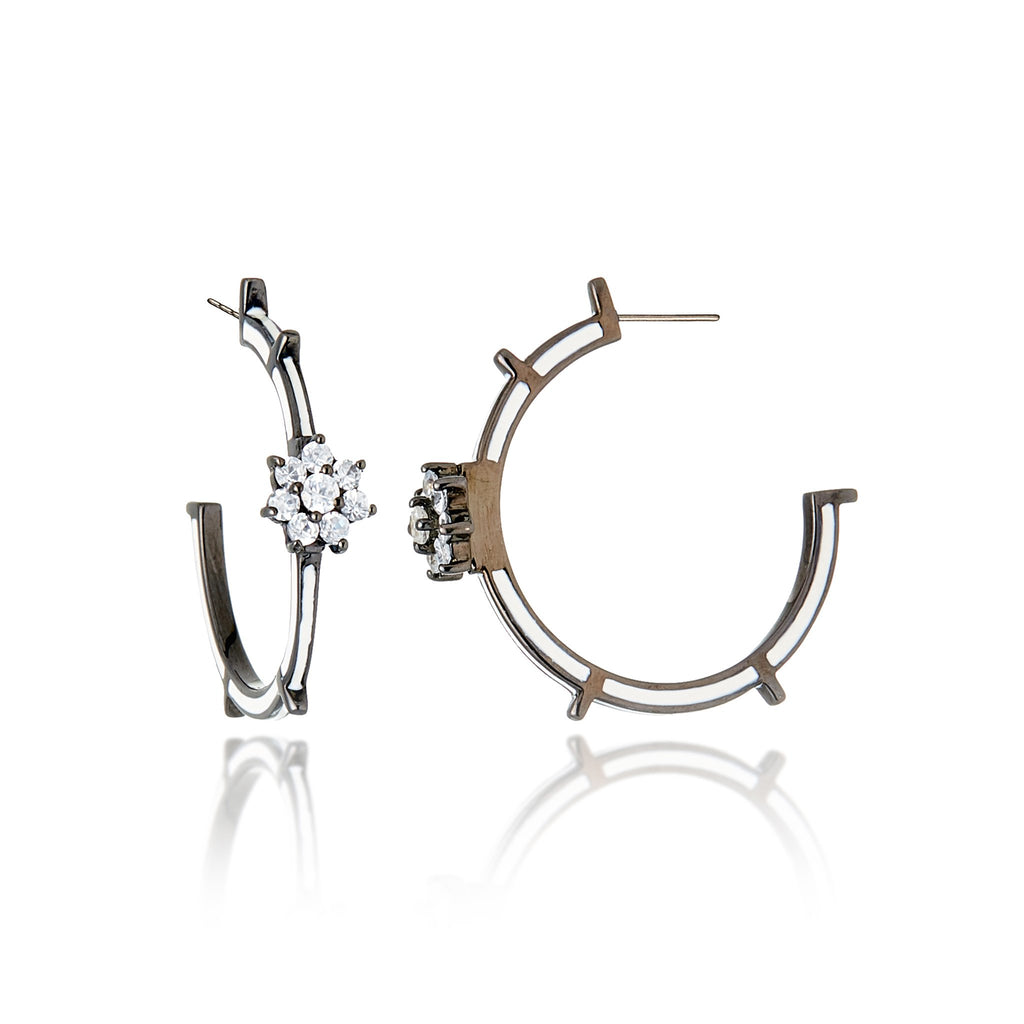 Sterling Silver Hoop Earrings With White Enamel & White Topaz