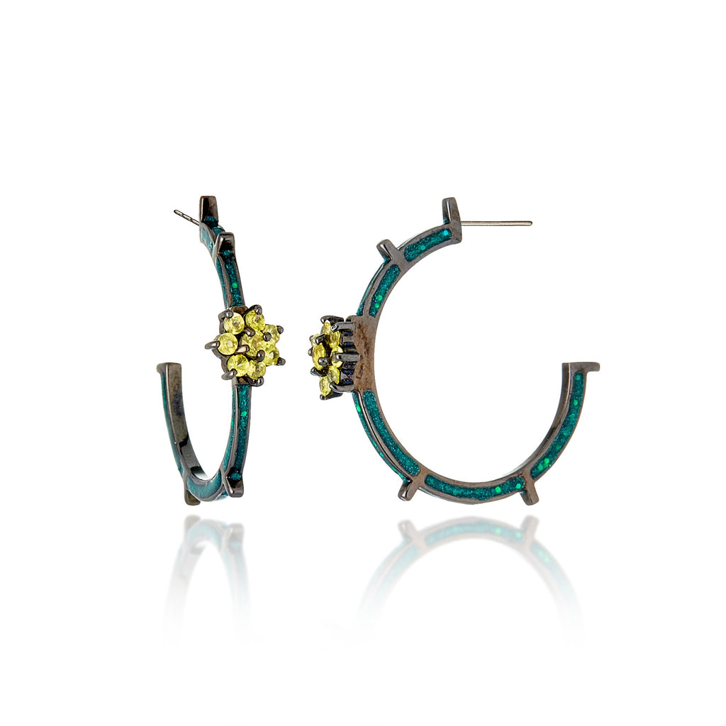 Sterling Silver Hoop Earrings With True Green Glitter Enamel & Yellow Sapphires