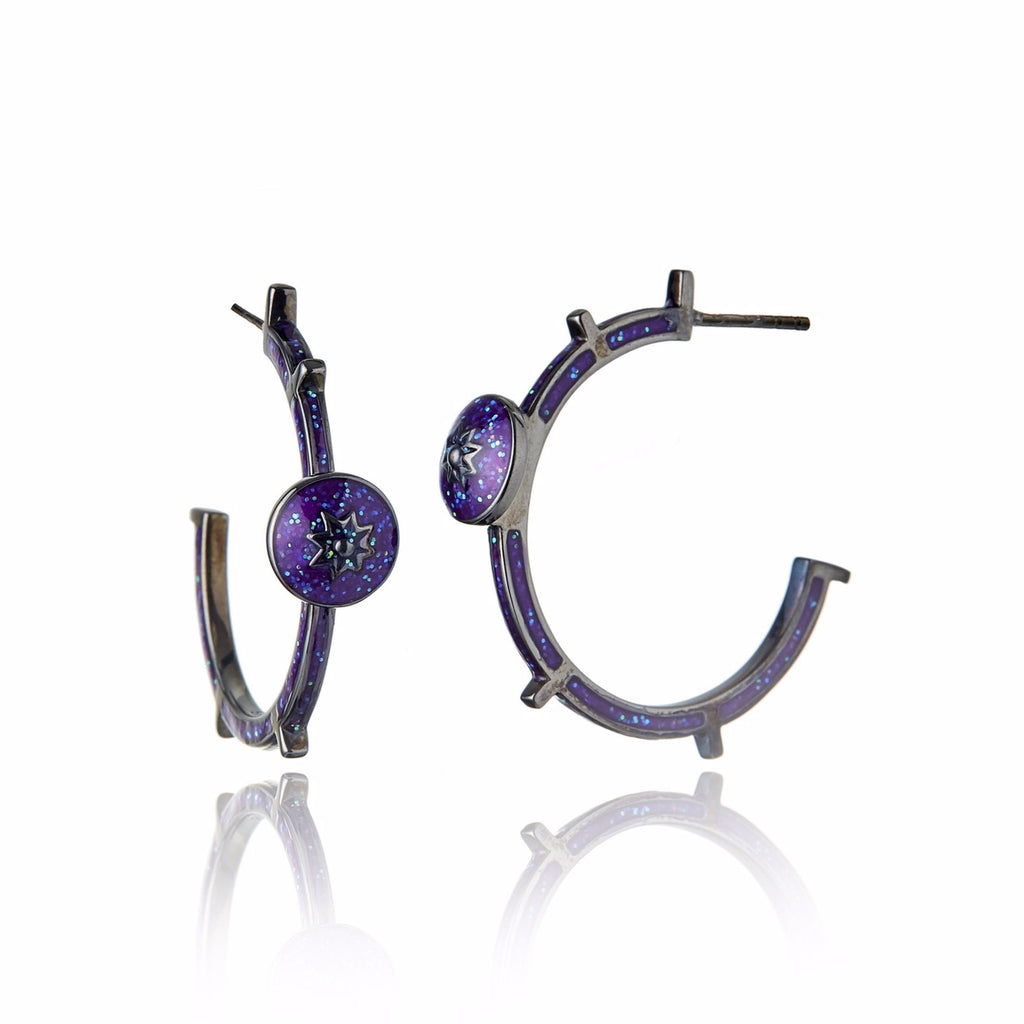 Sterling Silver Hoop Earrings With Light Purple Glitter Enamel & Mixed Sapphires