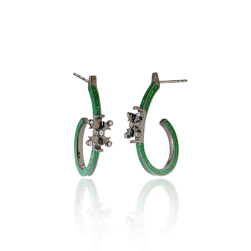 Black Rhodium Plated Sterling Hoop Earring With Glitter Med Green Enamel White Zircon