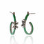 Sterling Silver Hoop Earrings With Metallic Green Glitter Enamel & White Zircon