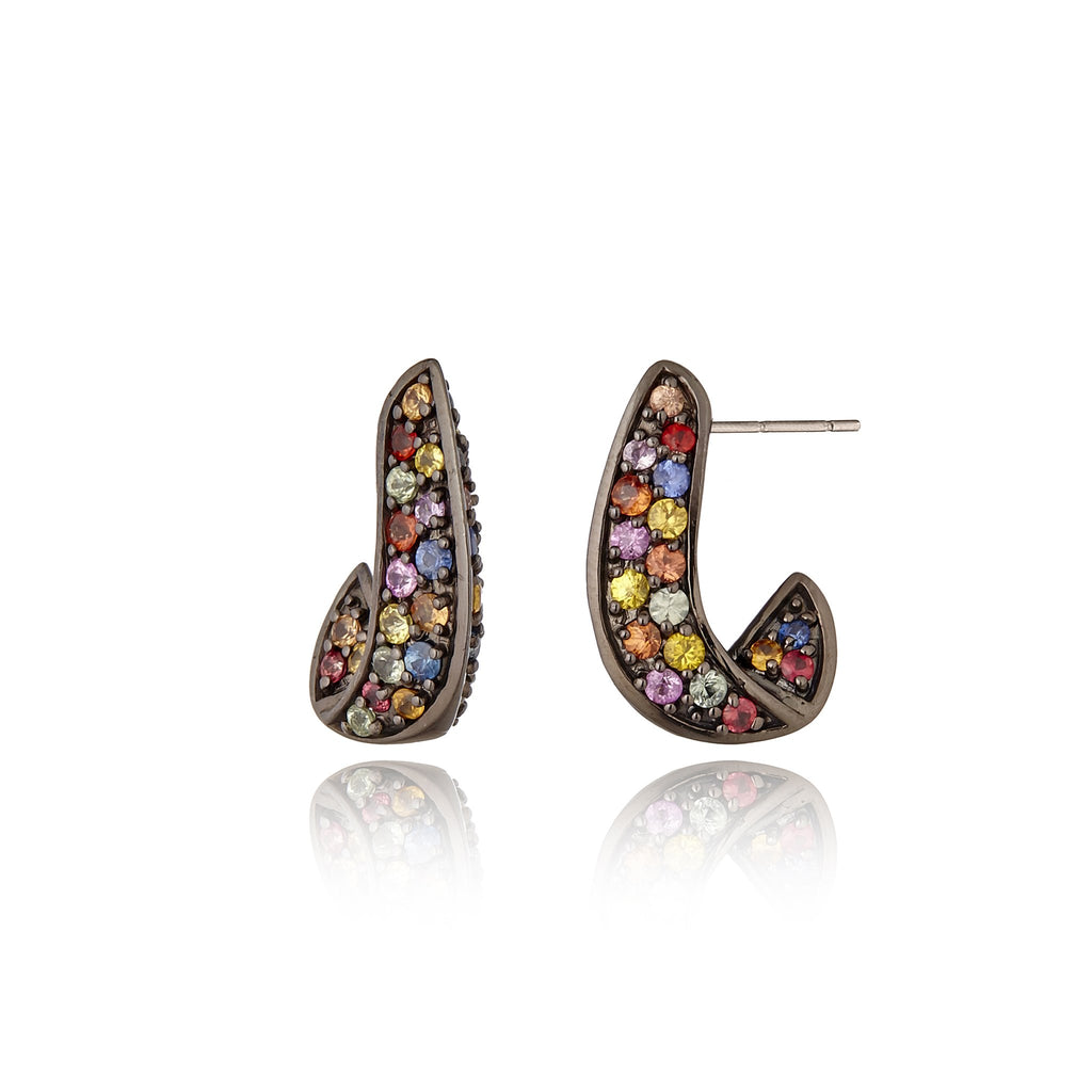 Sterling Silver Statement Earrings With Mixed Sapphires