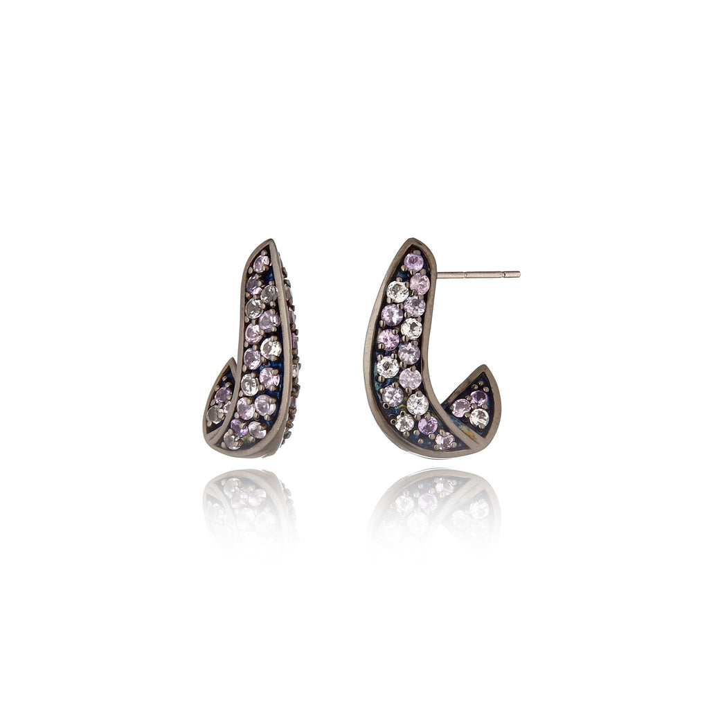 Sterling Silver Statement Earrings With Mixed Rose Sapphires