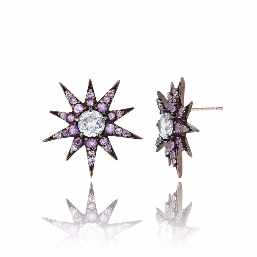 Black Rhodium Plated Sterling Button Earring Set With Amethyst and Blue Topaz