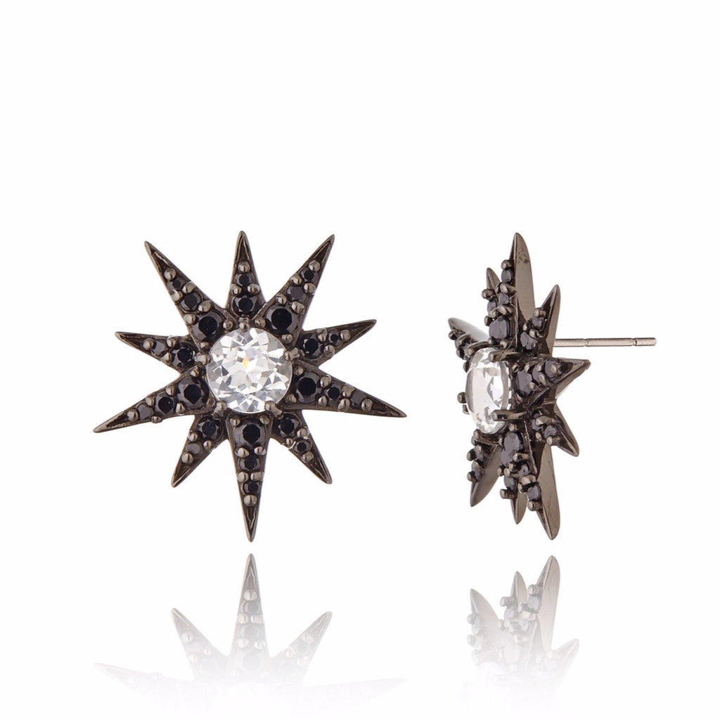 Black Rhodium Plated Sterling Button Earring Set With Black Spinel and White Topaz