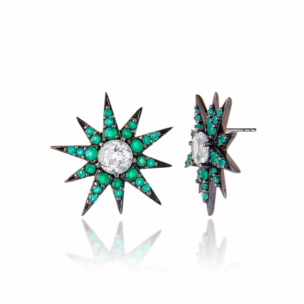 Black Rhodium Plated Sterling Button Earring Set With Green Agate and White Topaz