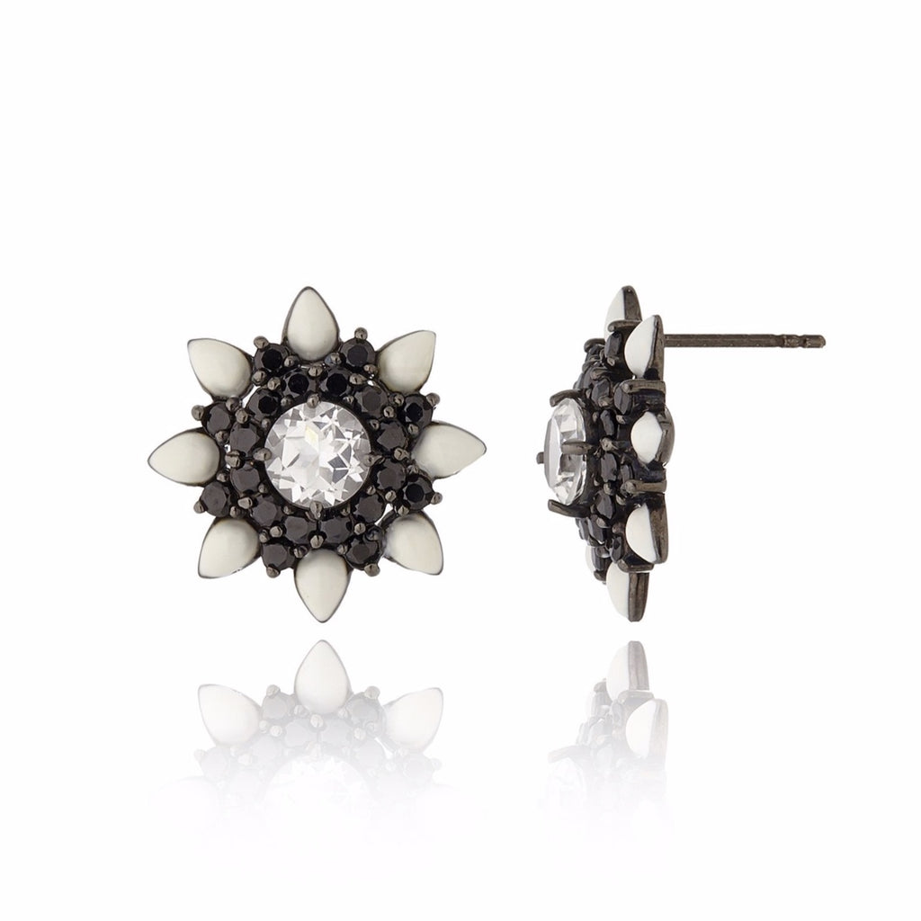 Black Rhodium Plated Sterling Stud Earring With White Enamel Black Spinel and White Topaz