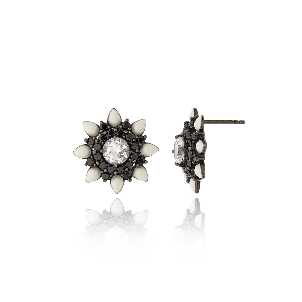Sterling Silver Stud Earrings With White Enamel, Black Spinel & White Topaz