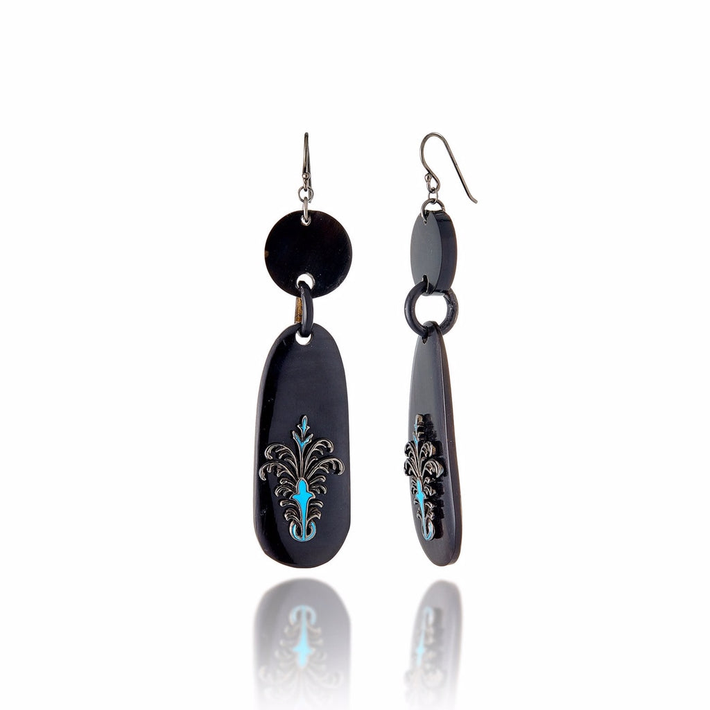 Handcrafted Dark Natural Horn Statement Earrings with Sterling Silver & Midday Blue Enamel