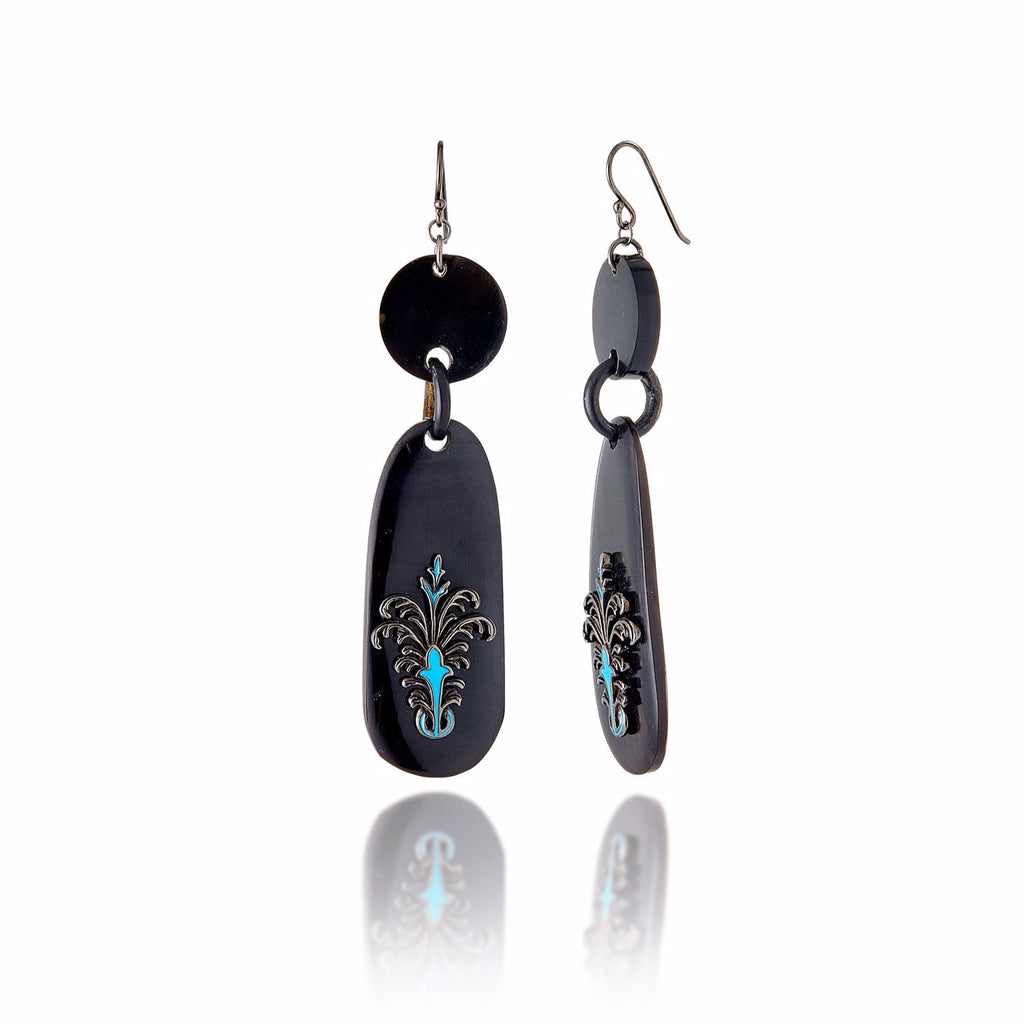 Dark Natural Horn Earrings with Sterling Silver & Midday Blue Enamel
