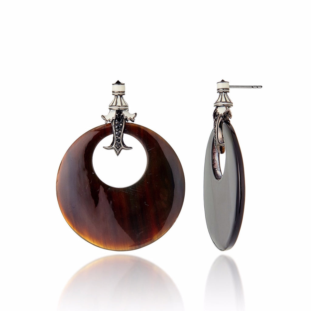 Black Rhodium Plated Sterling Button Earring With White Enamel Black Spinel and Black Onyx