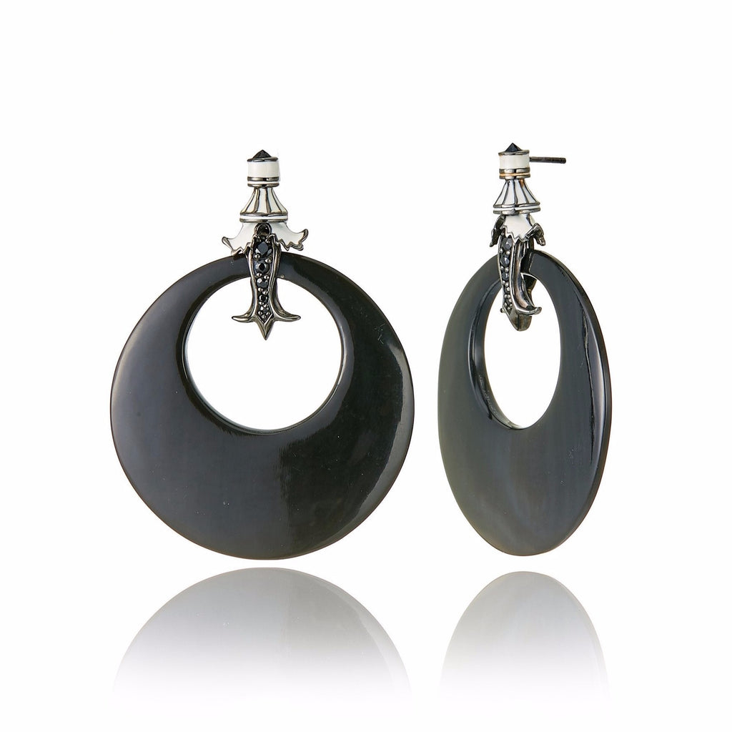 Sterling Silver Statement Earrings with White Enamel, Black Spinel, Black Onyx & Horn