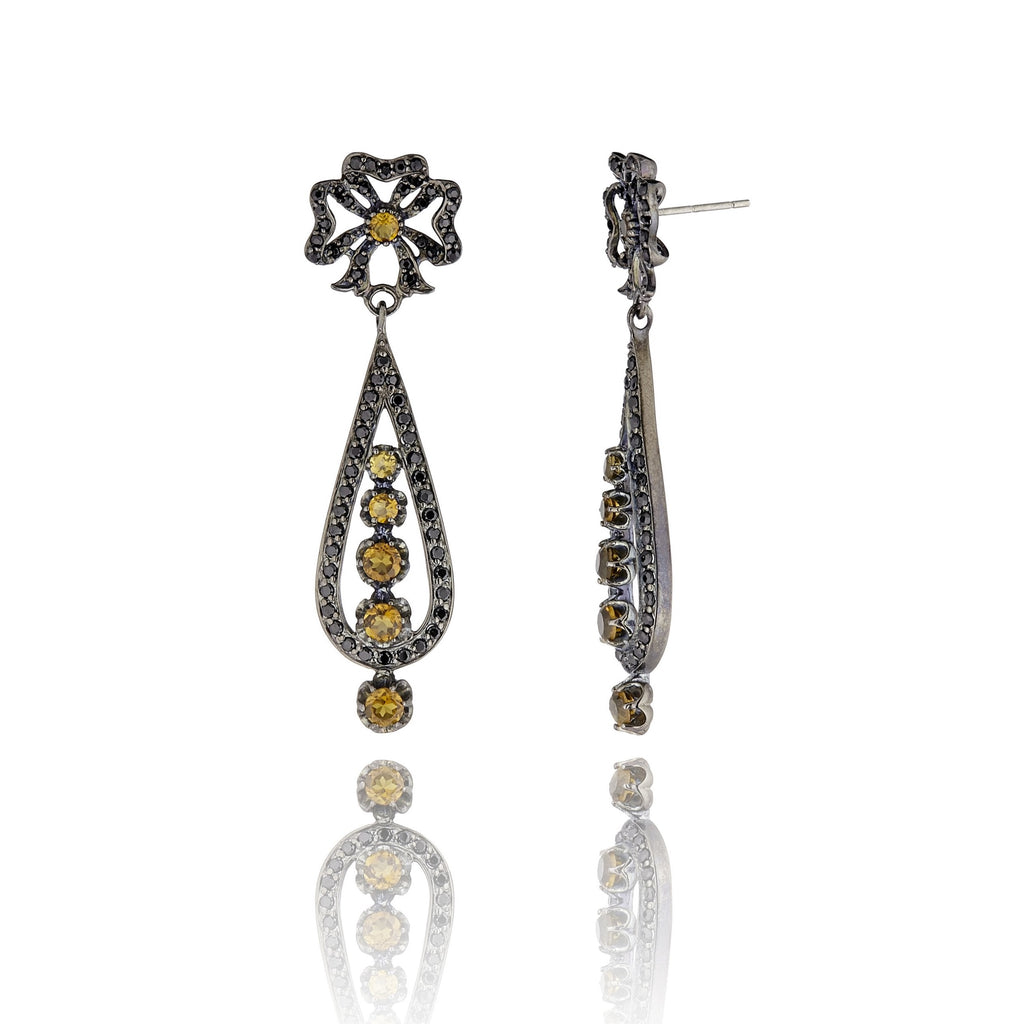 Sterling Silver Statement Earrings with Black Spinel & Citrine