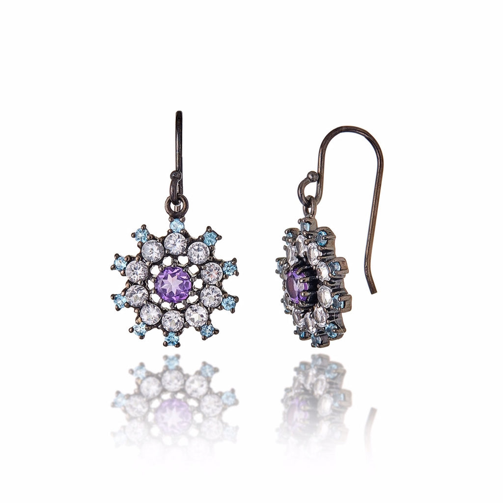 Sterling Silver Statement Earrings with Blue Topaz, White Topaz & Amethyst