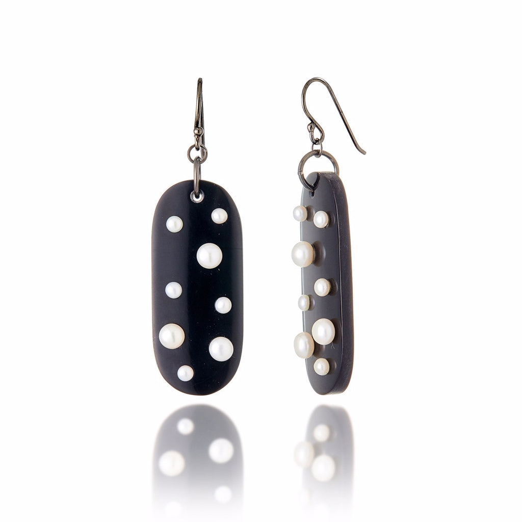 Dark Natural Horn Earrings with Sterling Silver & White Pearls