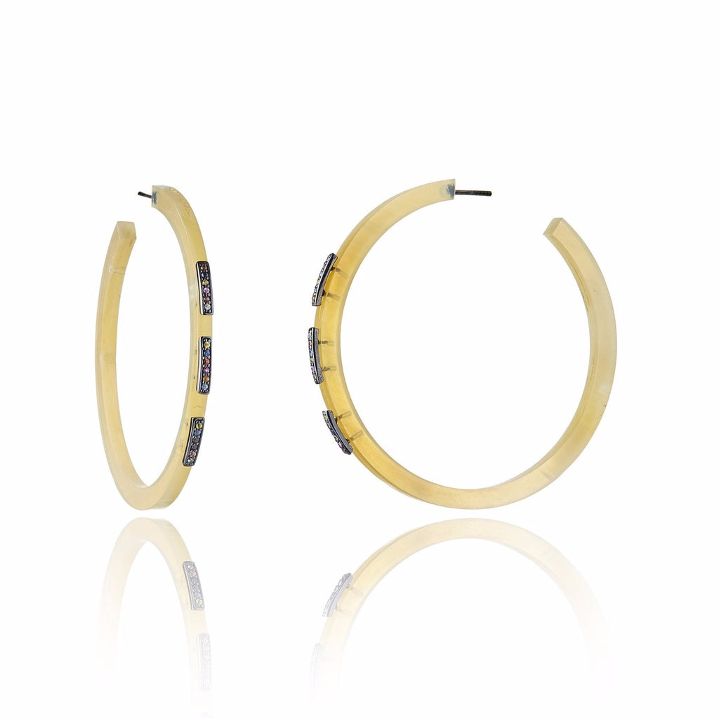 Sterling Silver Hoop Earrings With Horn & Mixed Sapphires