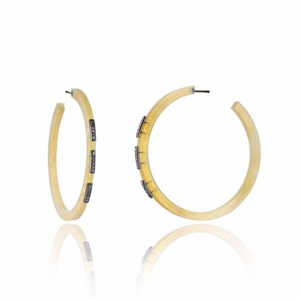 Natural Horn Hoop Earrings With Sterling Silver & Mixed Sapphires