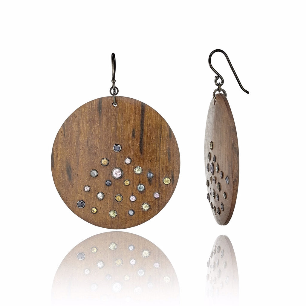 Dark Natural Wood Earrings with Sterling Silver & Mixed Sapphires