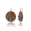 Dark Natural Wood Earrings with Sterling Silver & Black Pearls