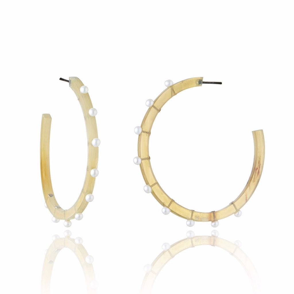 Sterling Silver Hoop Earrings with Ethically-Sourced Horn & White Pearl