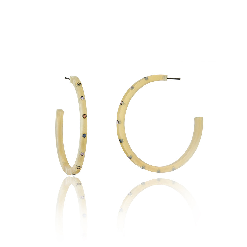 Light Natural Horn Hoop Earrings With Sterling Silver & Mixed Sapphires
