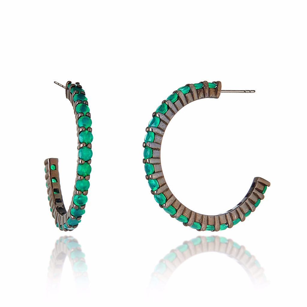 Sterling Silver Hoop Earrings With Green Agate