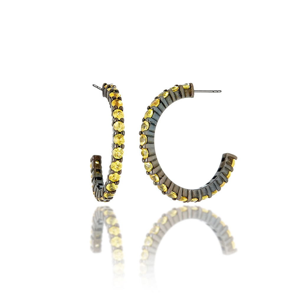 Sterling Silver Hoop Earrings with Yellow Sapphires