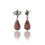Sterling Silver Statement Earrings with Red Sapphires
